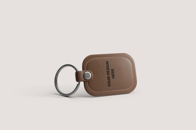 Brown leather keyring mockup