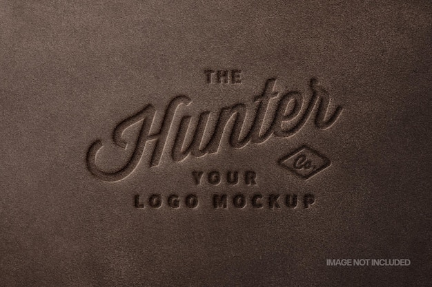 Brown leather stamp logo mockup