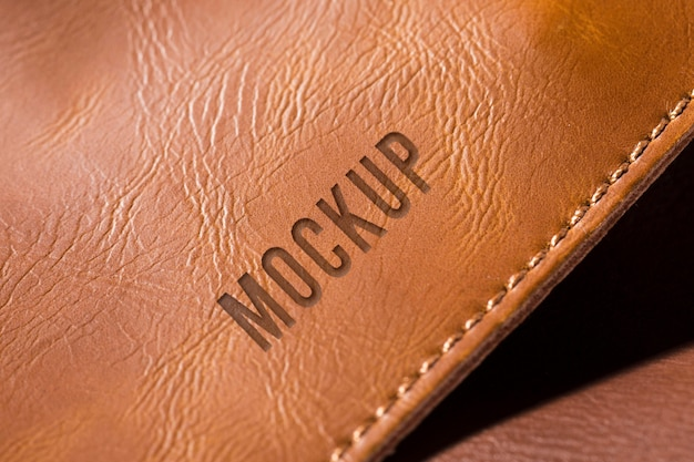 Brown leather surface mock-up