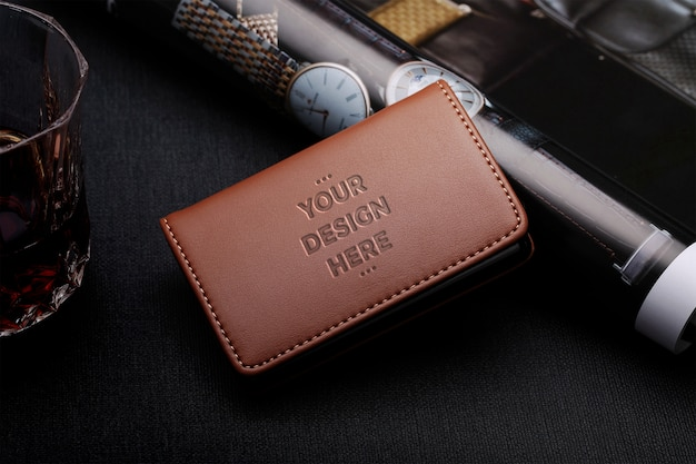 Brown leather wallet mockup