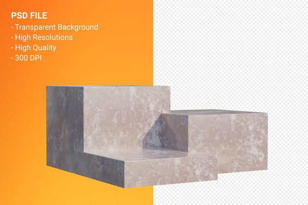 Brown marble podium minimal isolated for cosmetic product presentation