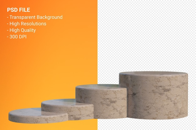 화장품 프레젠테이션을 위해 최소한의 브라운 대리석 연단 분리