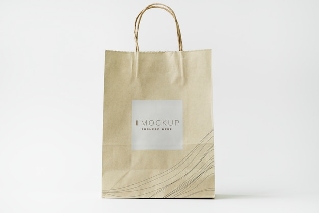 Brown paper bag design mockup