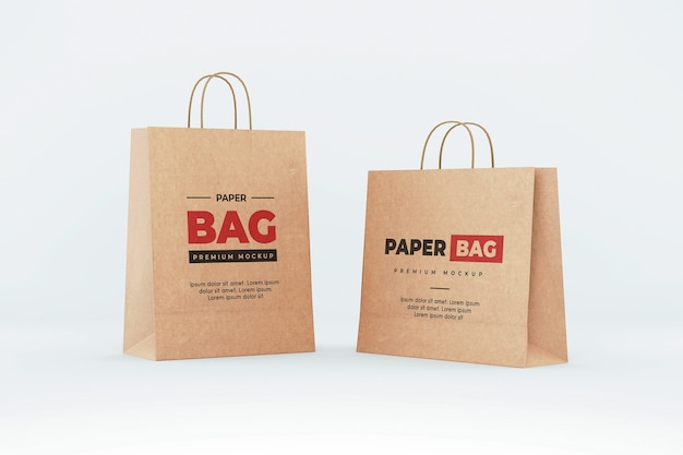 Brown paper bag mockup shopping realistic
