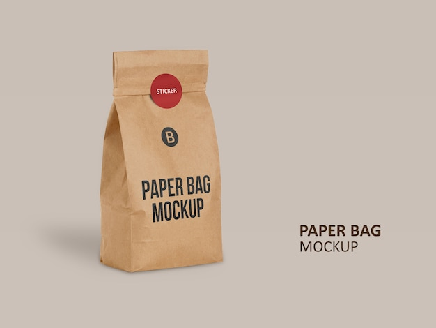 Brown paper bag with round sticker mockup
