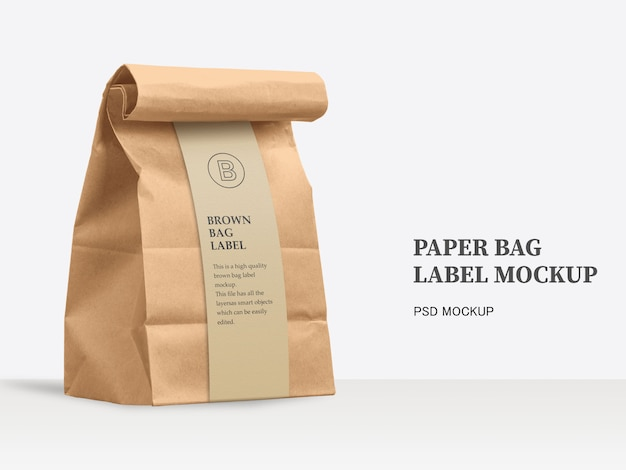 Brown paper bag with wrap around label mockup