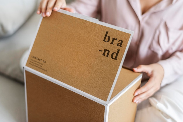 Brown paper box mockup psd in the living room
