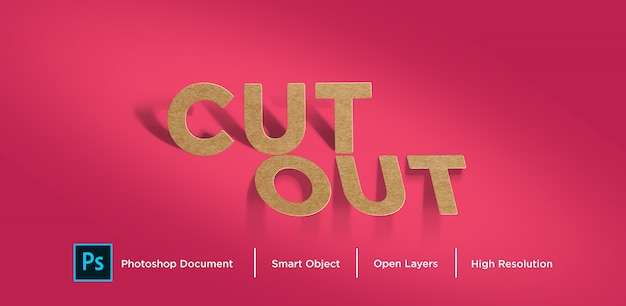Brown paper cut out text effect design