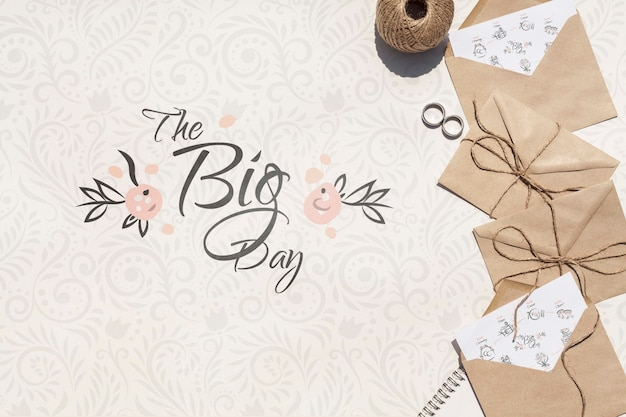 Brown paper envelopes with my big day quote lettering