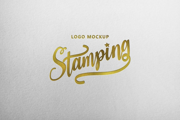 Brown paper mockup prototype with golden foil logo stamping