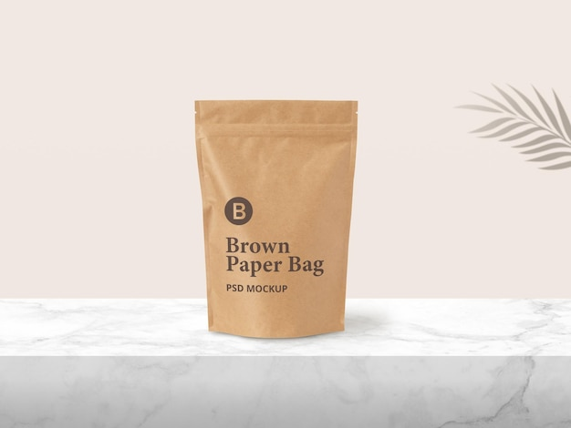 Brown paper zip pouch packaging mockup