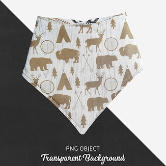 Brown patterned bandana for baby or children's on transparent background