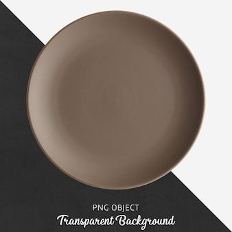 투명 한 배경에 갈색 라운드 세라믹 플레이트