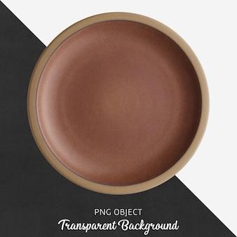 Коричневая круглая керамическая тарелка на прозрачном фоне