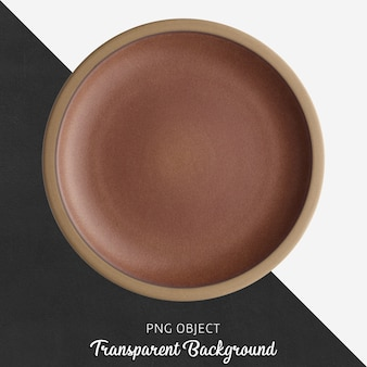 Brown round ceramic plate on transparent background