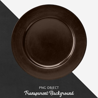 Brown round ceramic service plate on transparent background