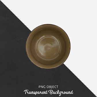 Brown soup plate top view on transparent background