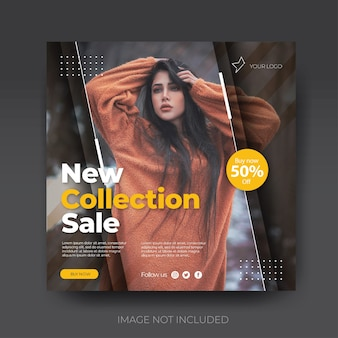 Brown stylish instagram fashion sale social media post feed template collection