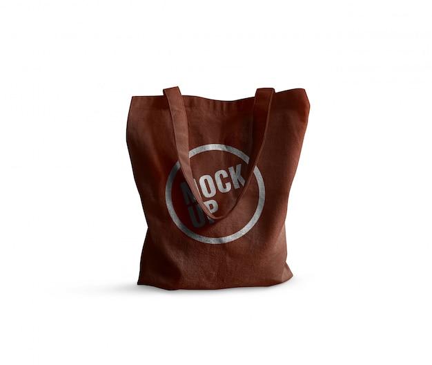 Brown tote bag mockup realistic