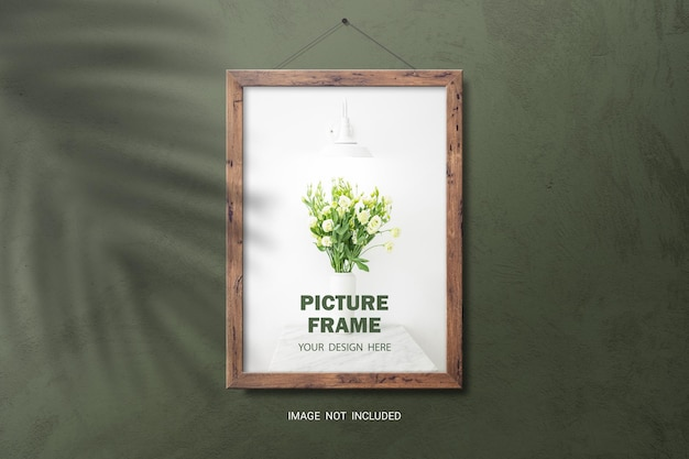 Brown wooden photo frame mockup