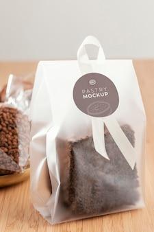 Brownie in transparent packaging mockup