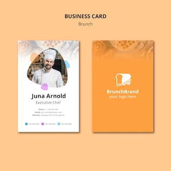 Brunch business card template design