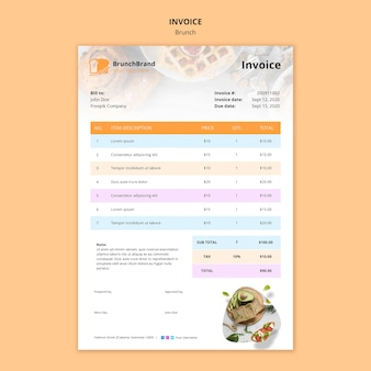 Brunch invoice template concept