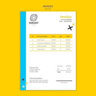 Brunch invoice with costs template