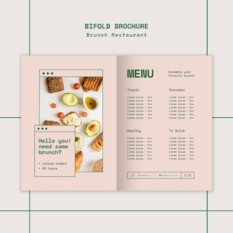 Brunch restaurant bifold brochure template