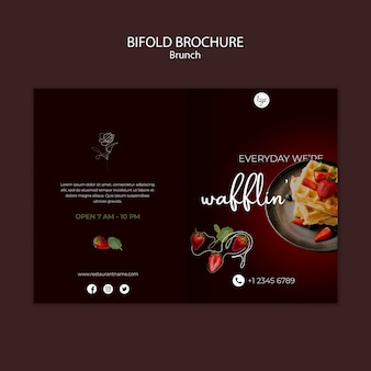Brunch restaurant design bifold brochure template
