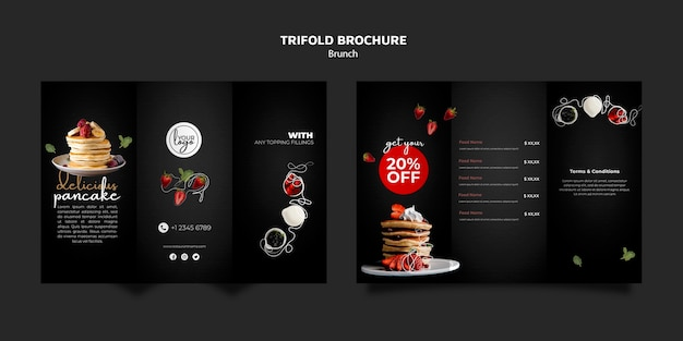 Brunch restaurant design trifold brochure template