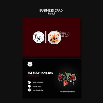 Brunch restaurant minimalist dark business card