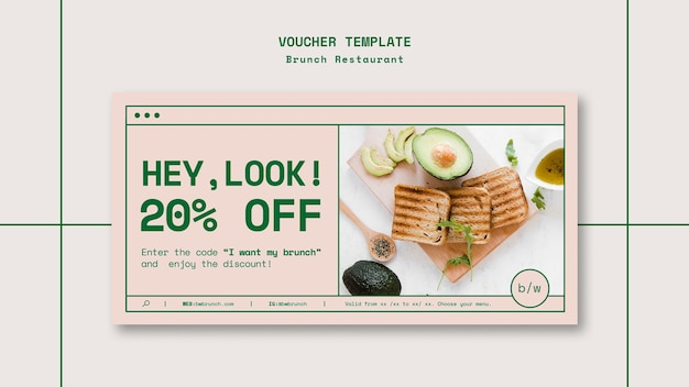 Brunch restaurant template voucher