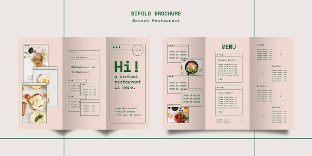 Brunch restaurant trifold brochure template