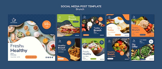 Brunch theme for social media post template