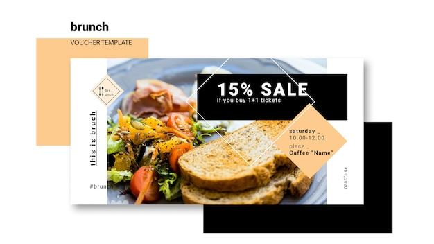 Brunch voucher template concept