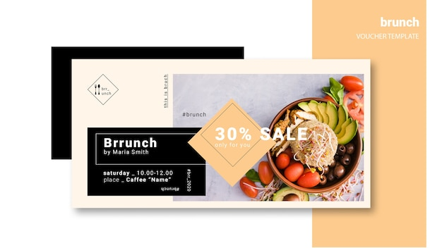 Brunch voucher template with discount