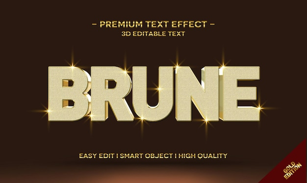 Brune 3d gold text style effect template