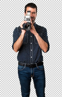 Brunette man filming