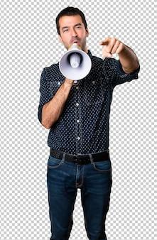 Brunette man holding a megaphone