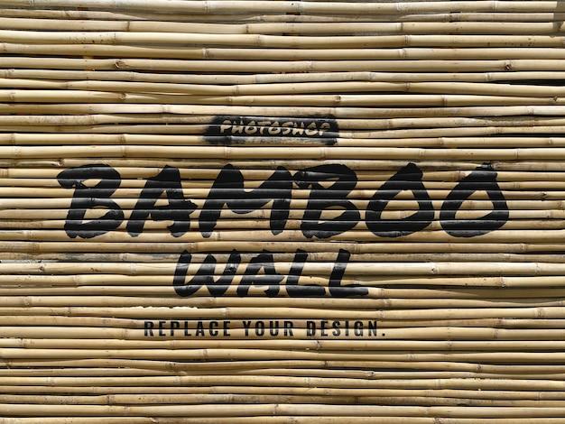 Brush on bamboo wall realistic mockup