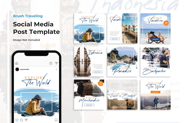 Brush travel adventure social media banner instagram templates