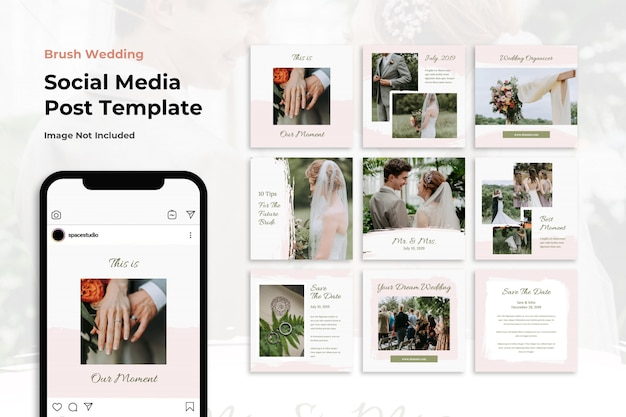 Brush wedding social media banner instagram templates