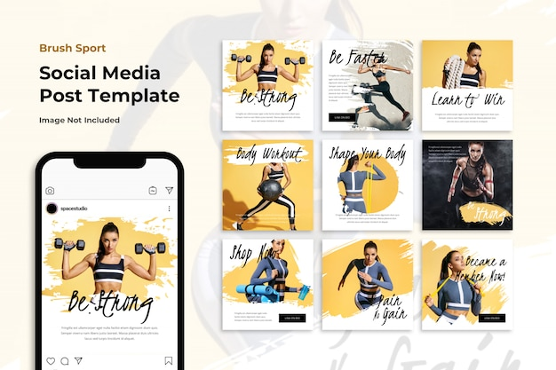 Brushed sport social media banner instagram templates