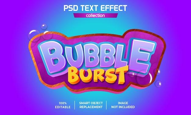 Bubble burst game text effect