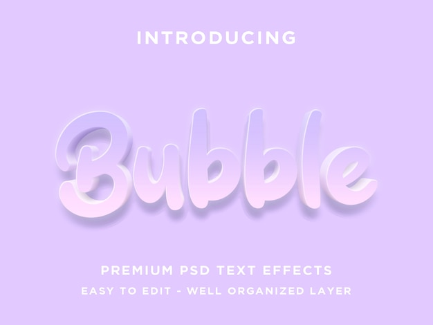 Bubble, editable text effect styles  psd