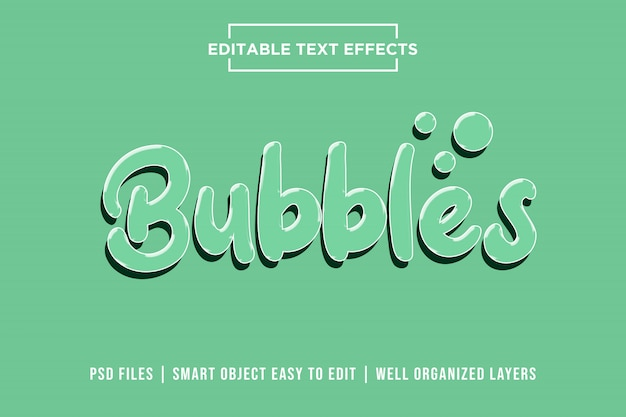 Bubbles, 3d text effects premium psd