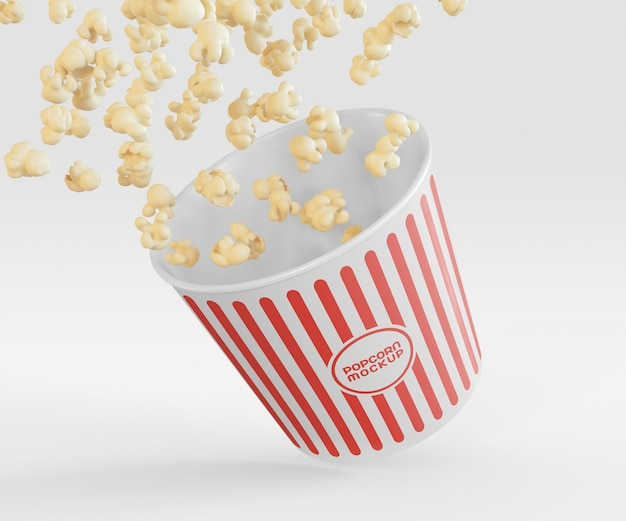 Bucket with popcorn flying mockup
