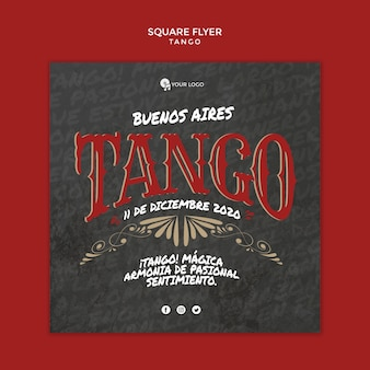 Buenos aires tango square flyer template