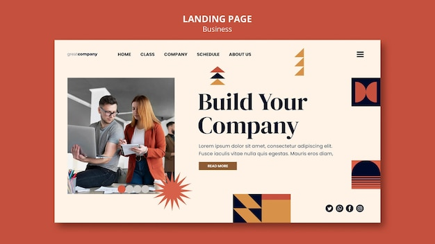 Build company landing page template